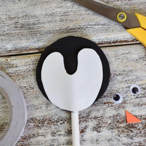add white foam for penguins face